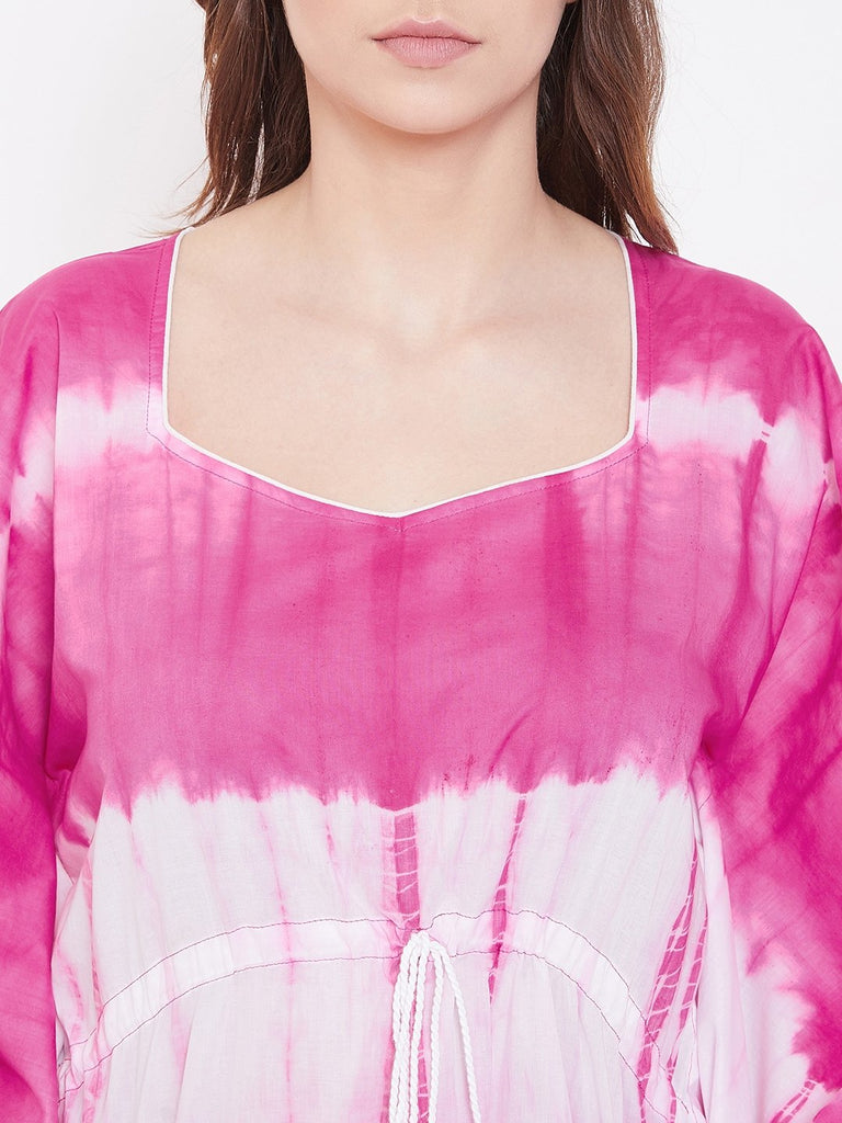 Wild Berry Stripes Tie-Dye Kaftan