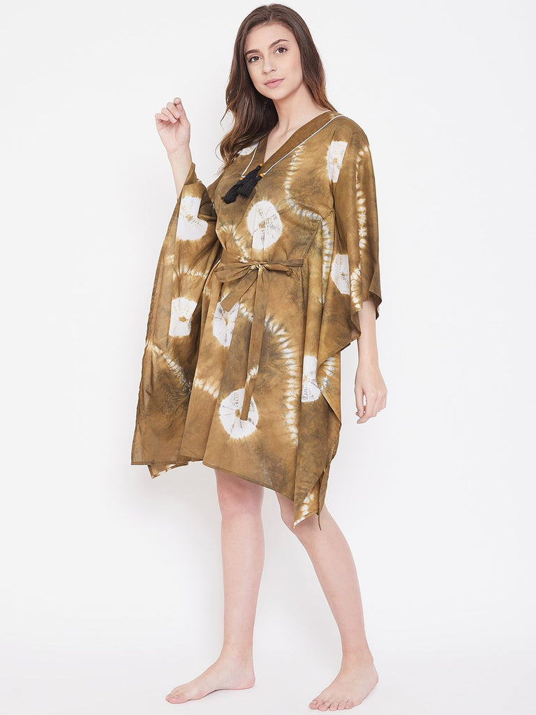 Tortilla Tan Tie-Dye Kaftan with Belt