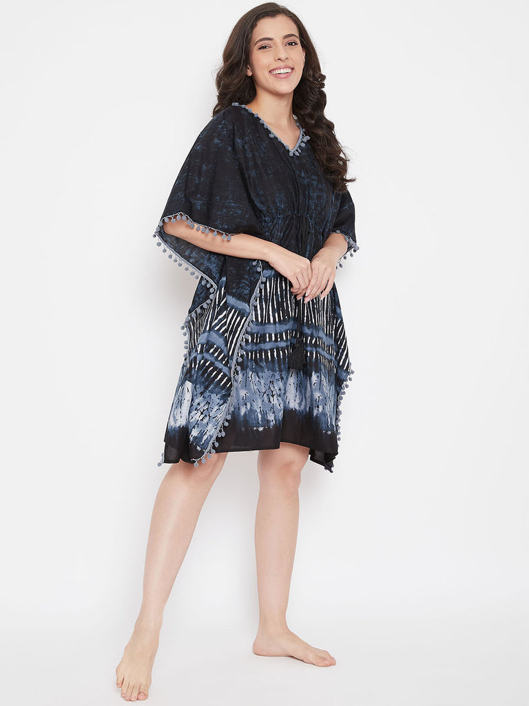 Abstract Printed Black Kaftan with Pompoms