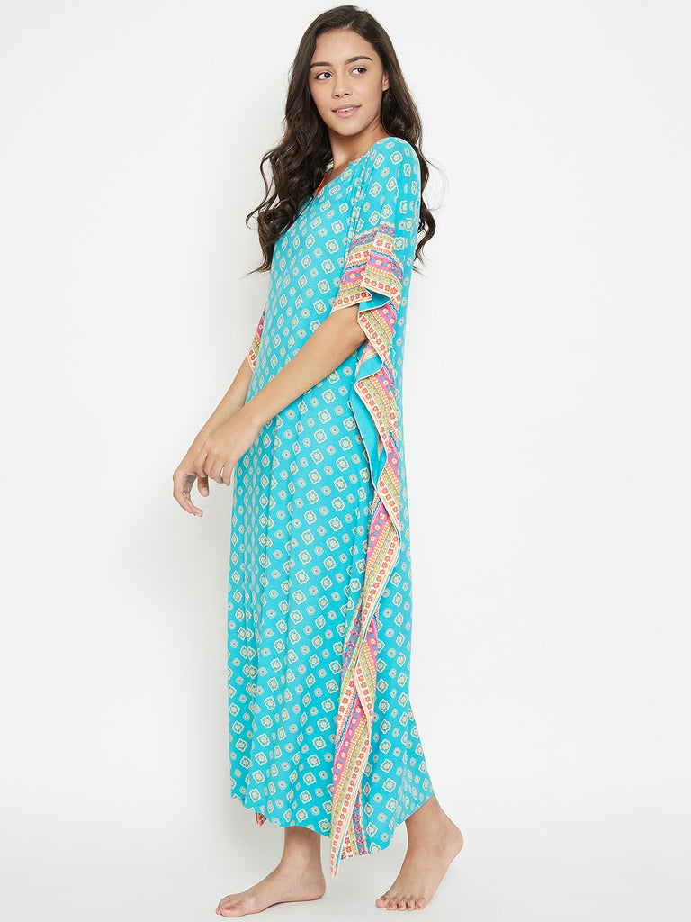 Floral Polygon Blue Loungewear Kaftan