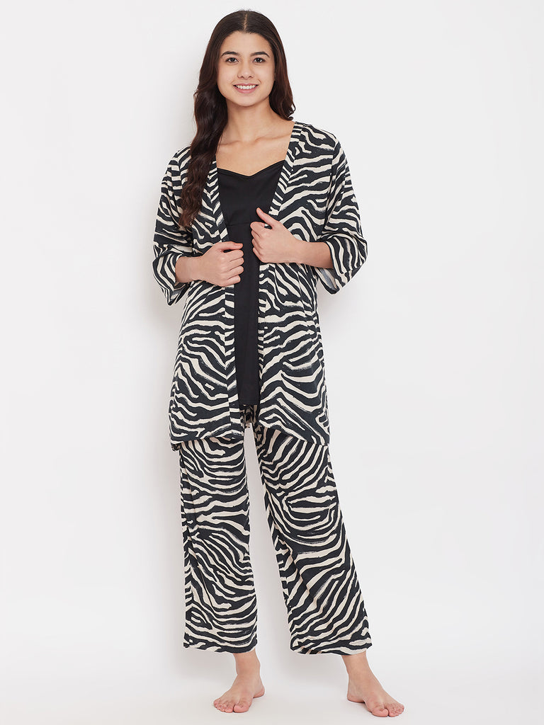 Animal Printed 3 Piece Pyjama Set