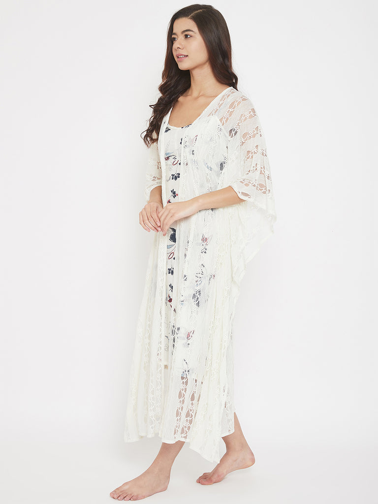 Off White Lace Gown with White Floral Printed Slip