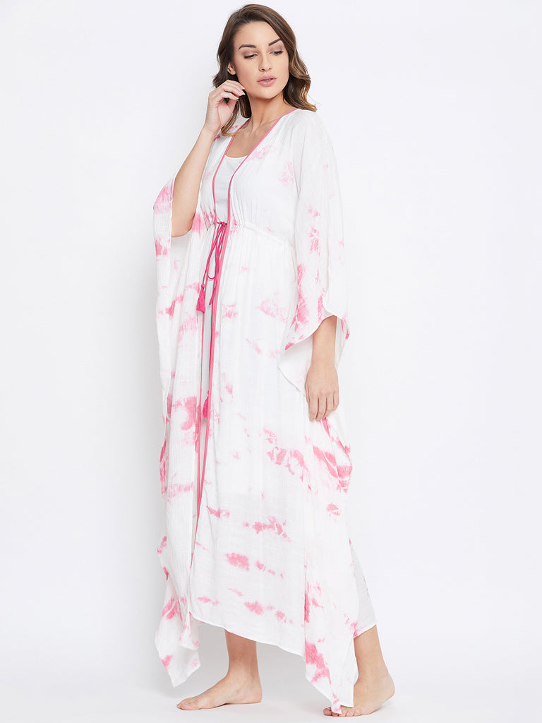 PINK TIE-DYE KAFTAN NIGHT GOWN