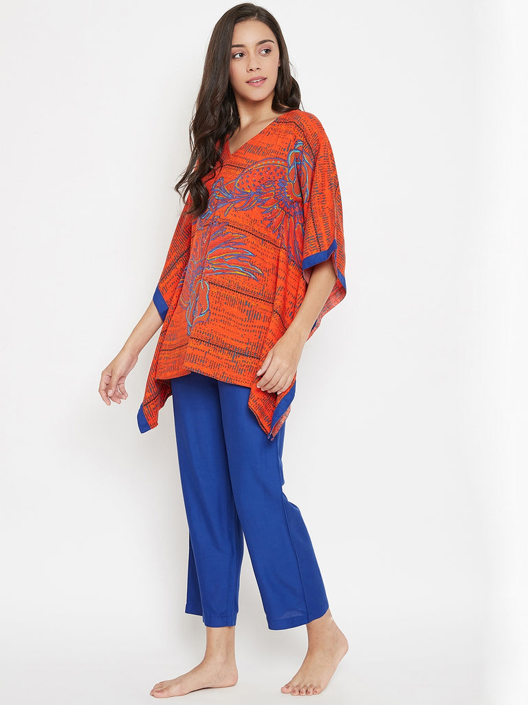 Blue Bird Kaftan Pyjama Set