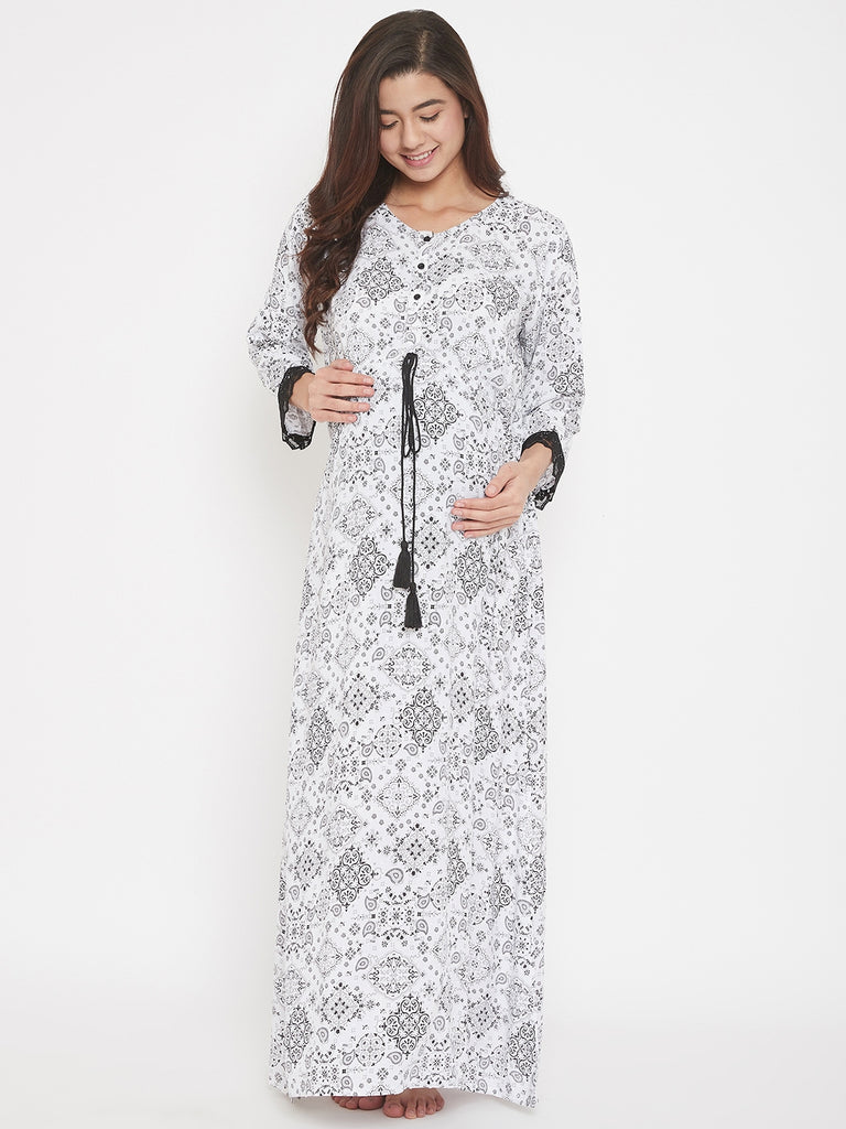 Abstract Printed White Maxi Maternity and Nursing Nightdress