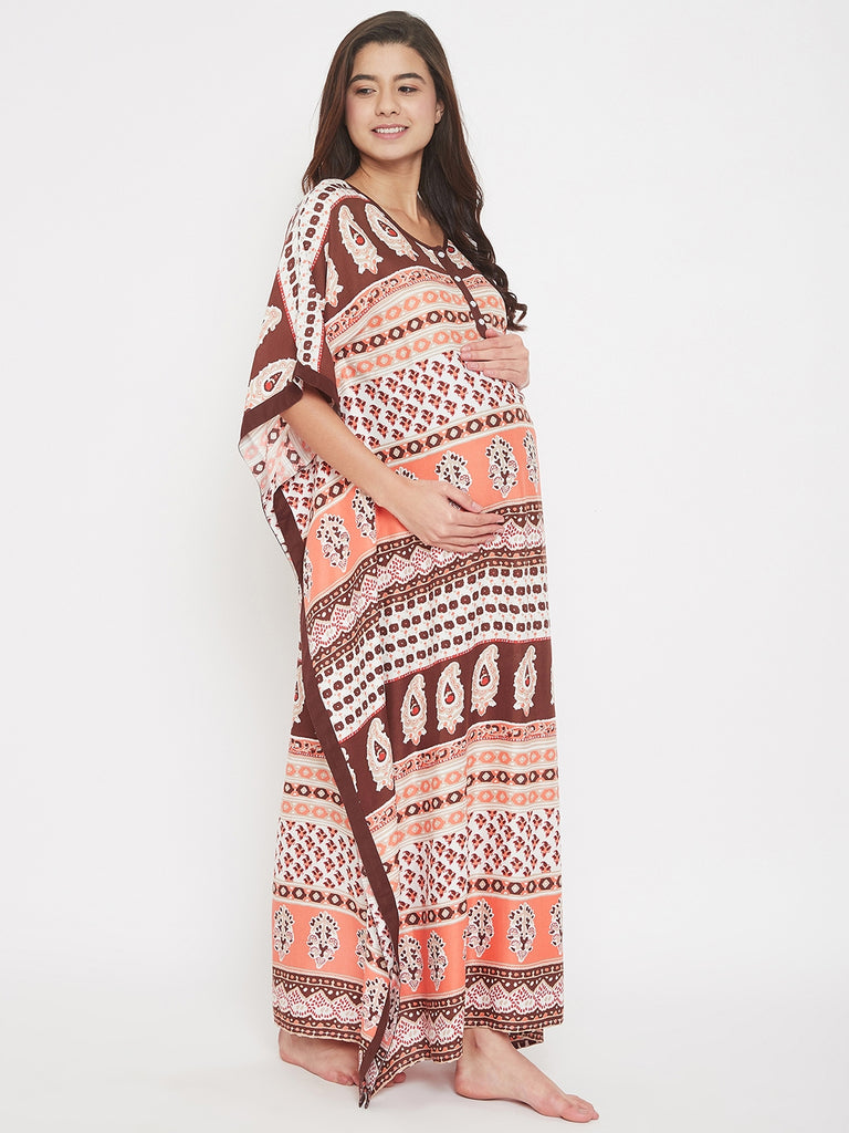 Paisley Printed Maxi Maternity and Nursing Kaftan