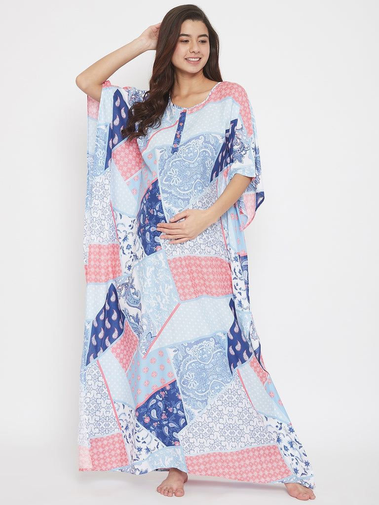 Patch Print Blue Maxi Maternity and Nursing Kaftan
