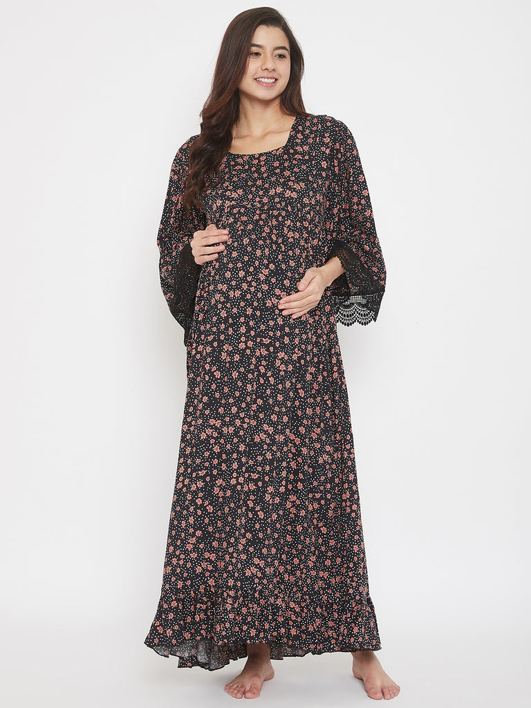 Ditsy Floral Black Maternity and Nursing Nightdress