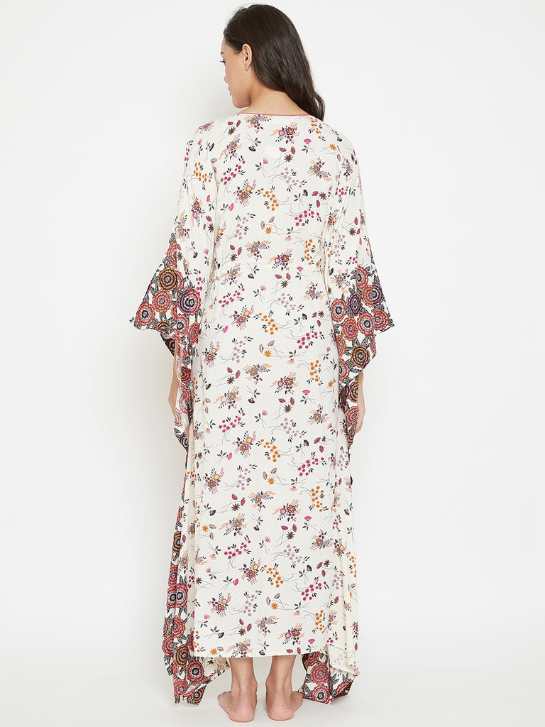 Off White Floral Printed Loungewear Kaftan