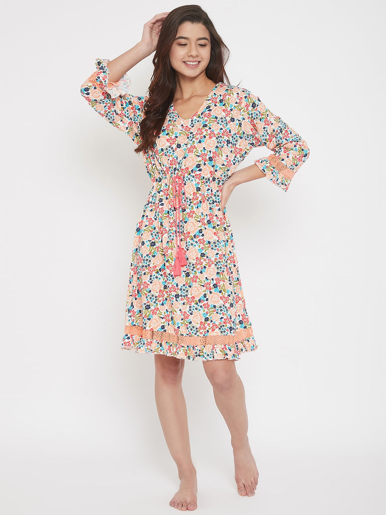 Floral Printed Full Sleeve Cotton Modal Lounge Dress