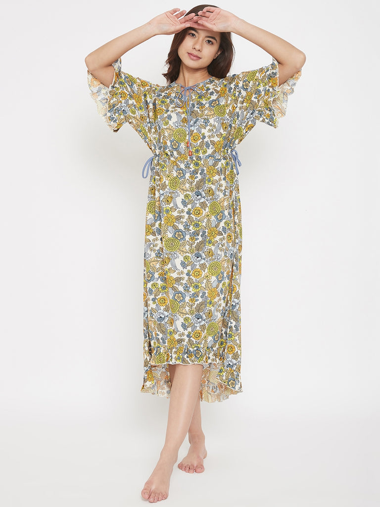 Floral Printed Hi-Low Hem Cotton Modal Lounge Dress