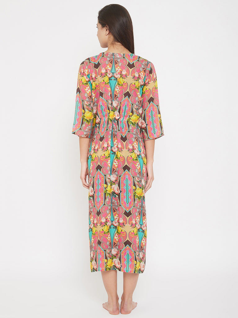 Floral Hexagon Printed Night Gown Loungwear Set