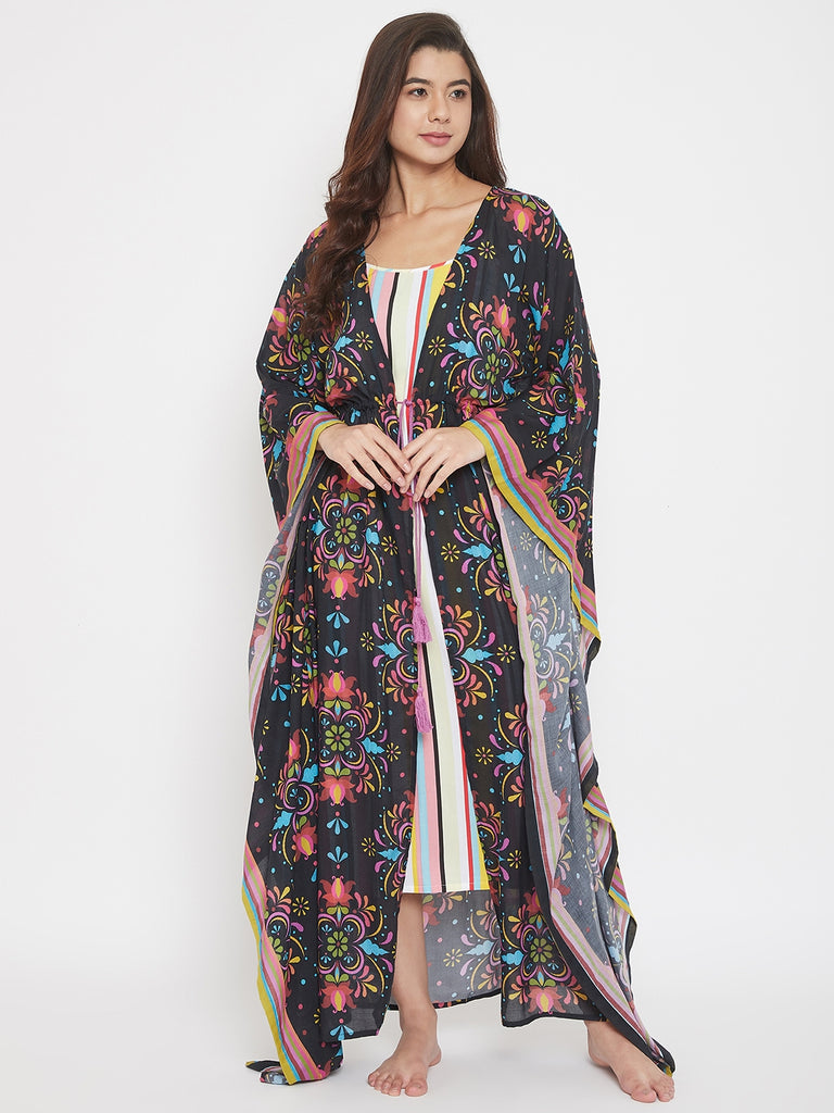 Classic Floral Printed Black Kaftan Gown with Striped Slip