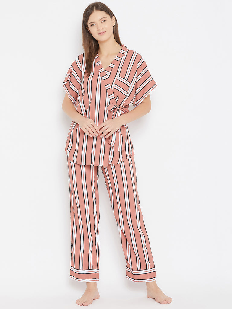 Rust Coloured with Black and White Striped Pyjama and Top Loungewear Set