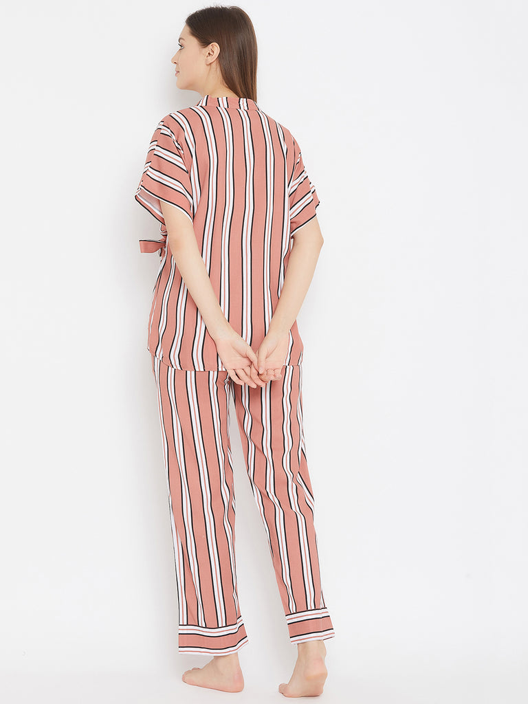 Rust Stripes Pyjama Set with Wrap Top