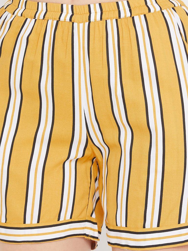 Mustard Stripes Box Pleat Top and Shorts Set