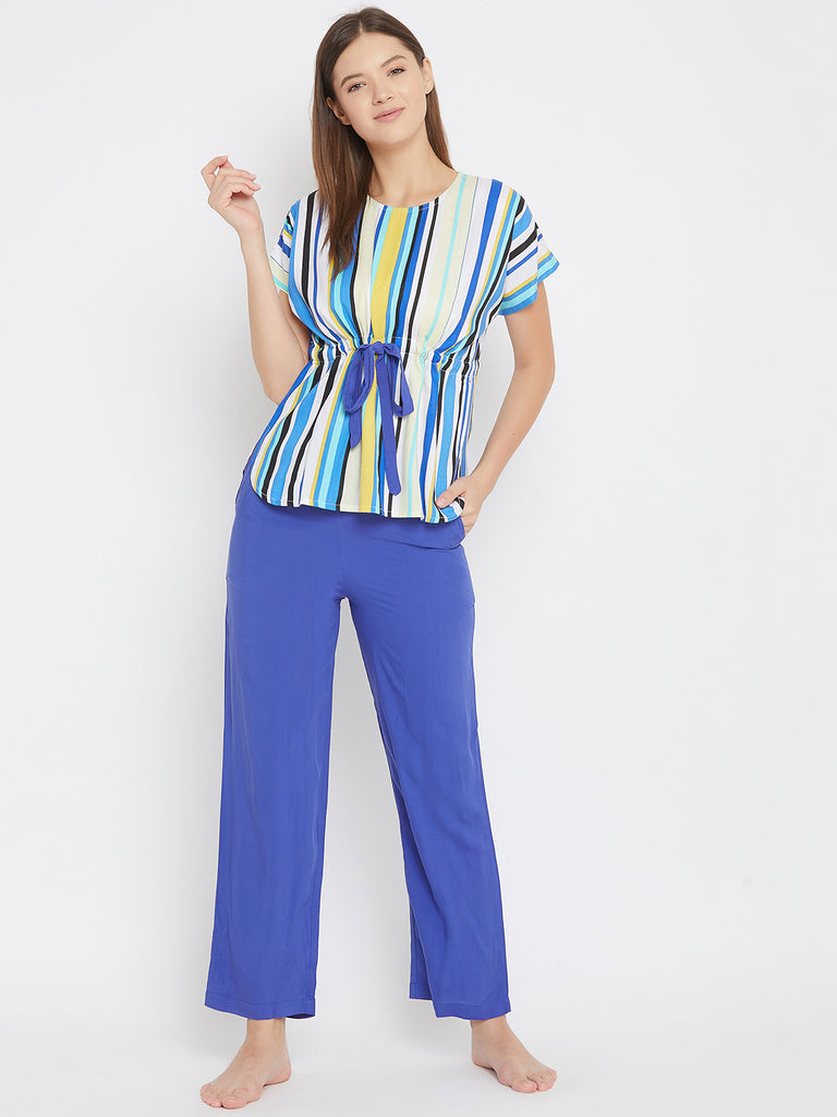MULTI COLOUR STRIPES PRINT TOP AND PYJAMA SET WITH BELT TIE UP