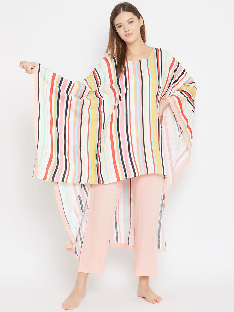 MULTI COLOUR STRIPES PRINT KAFTAN TOP AND PYJAMA SET WITH HIGH LOW HEM DETAIL