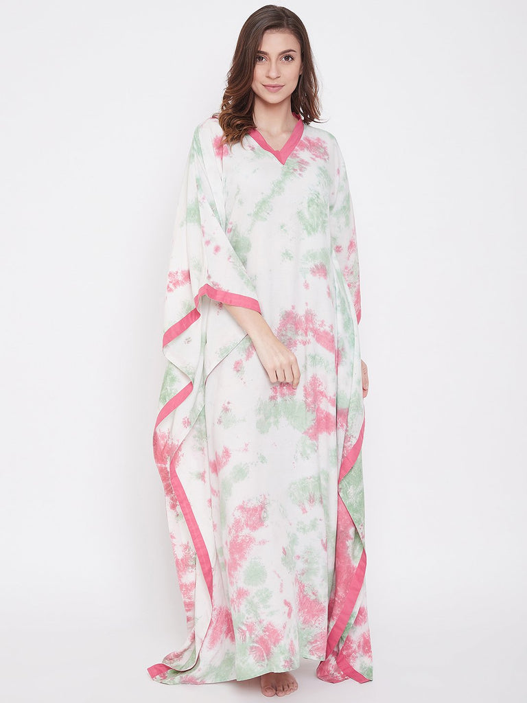 French Rose Crumple Tie-Dye Kaftan
