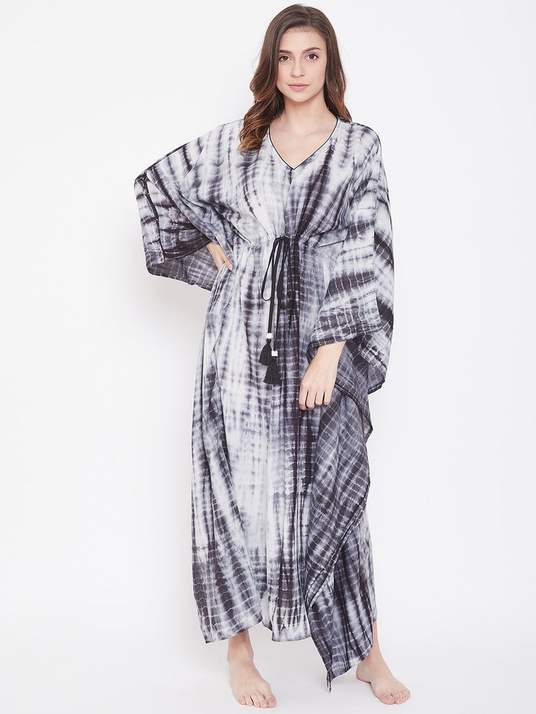 Pebble Black Shibori Tie-Dye Kaftan