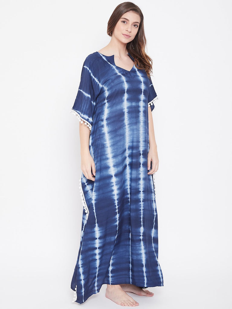 Indigo Stripes Tie-Dye Kaftan with Pompoms
