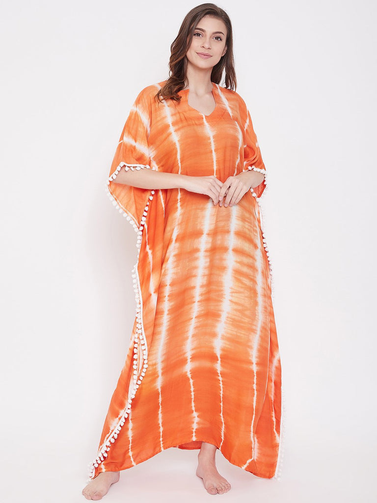 Tangerine Stripes Tie-Dye Kaftan with Pompoms