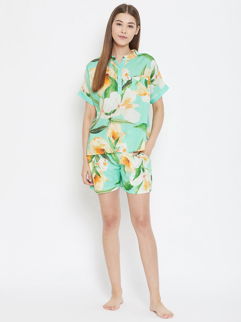TROPICAL FLORETTE SHORTS SET