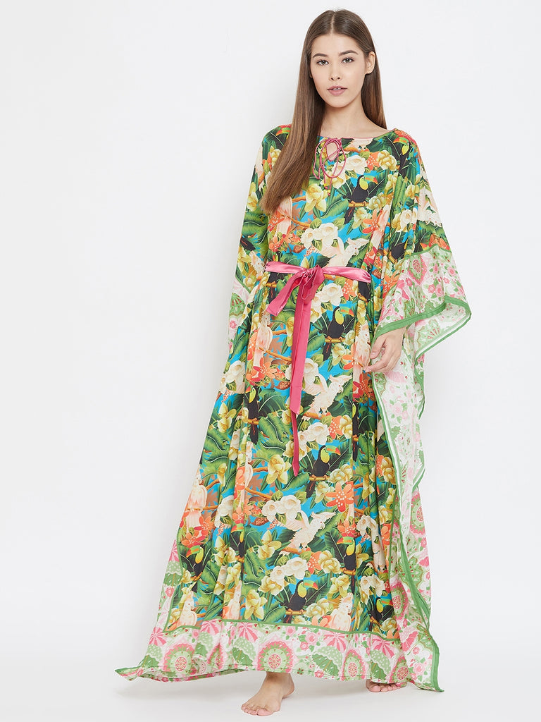 TROPICAL EFFLORESCENCE MAXI KAFTAN