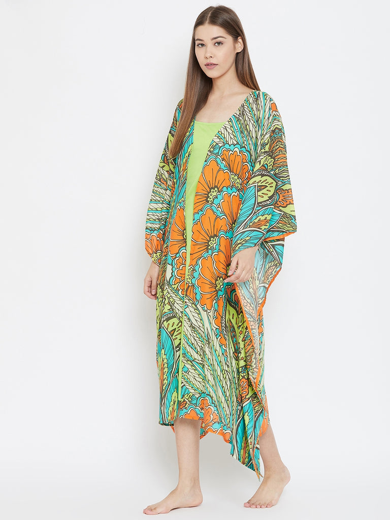 TROPICAL LEAFLETS  KAFTAN GOWNSET