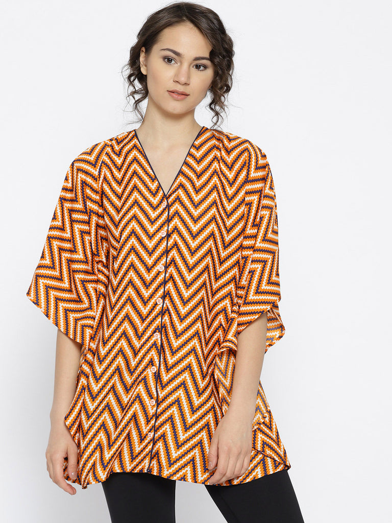 zig-zag printed orange sleepshirt
