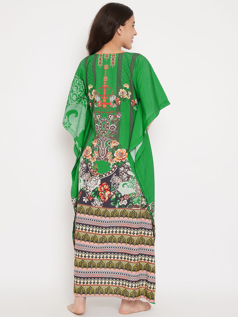Ornate Borders Maxi Length Kaftan