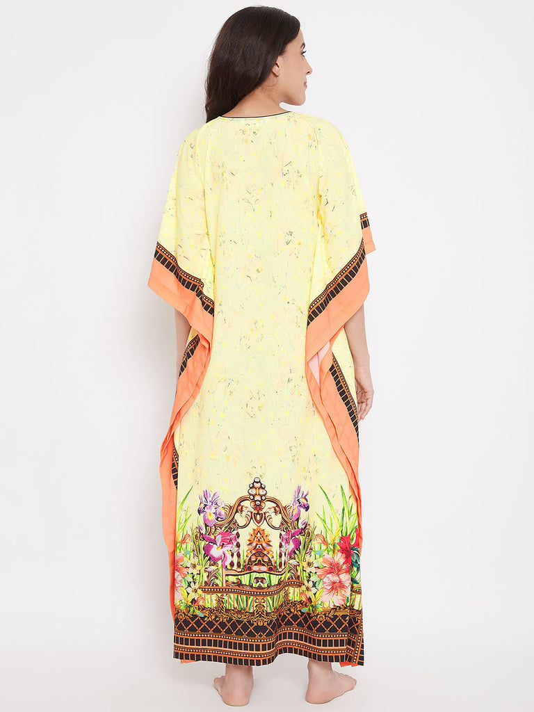 Yellow and Peach Printed Maxi Kaftan
