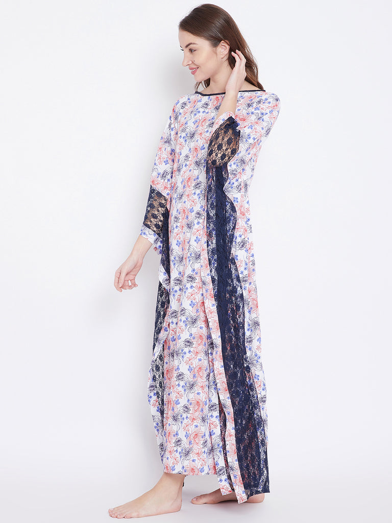 Amaryllis Printed Kaftan with Lace