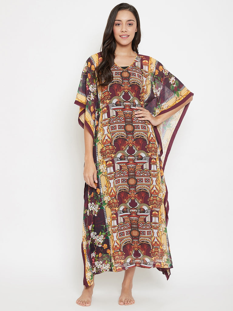 Maroon Digital Printed Sheer Kaftan With Slip