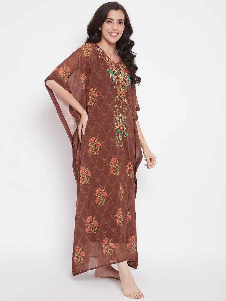 Floral Garland Sheer Maxi Kaftan with Slip