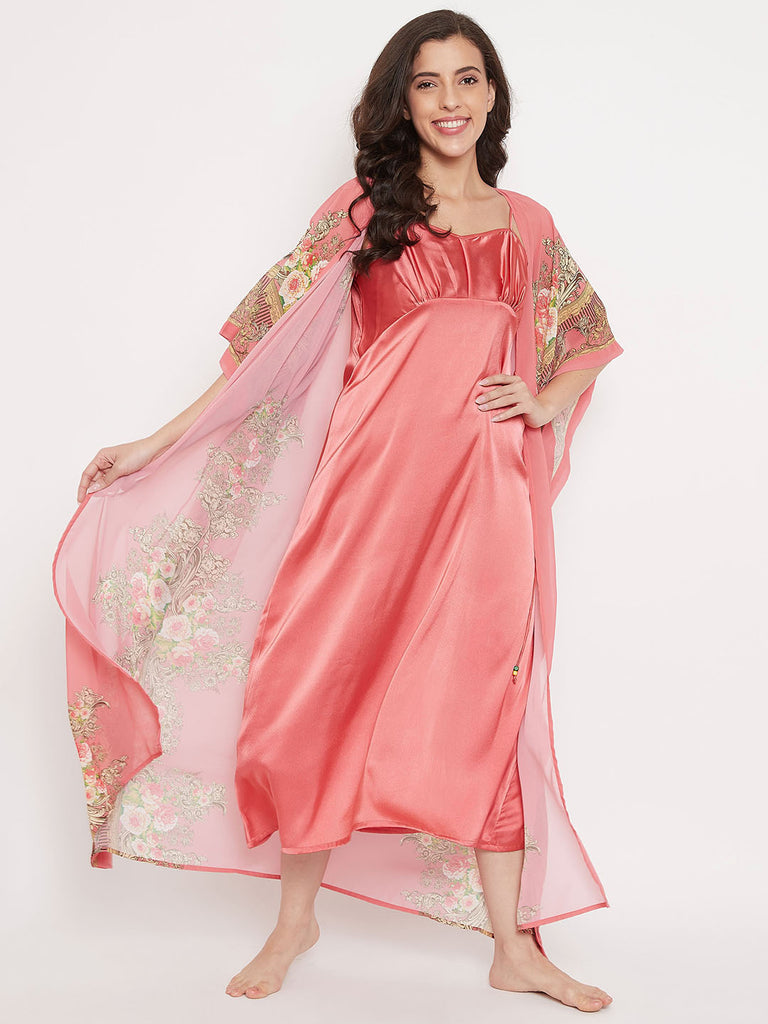Blushed Roses Kaftan Gown Set