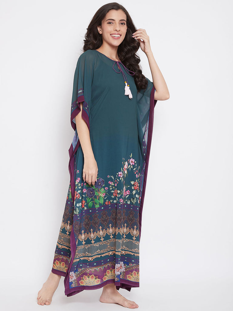 Floral Layers Georgette Kaftan with Slip