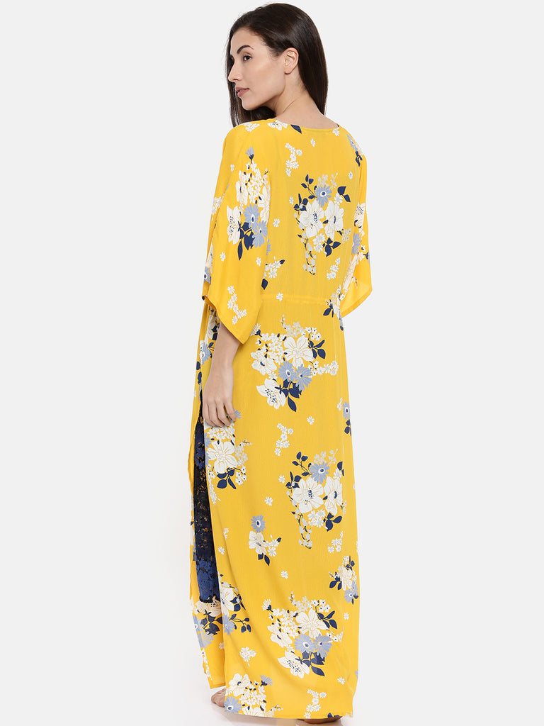 Yellow Printed Gown set
