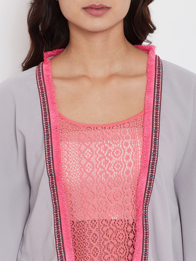 Pink Lace Negligee with Shrug