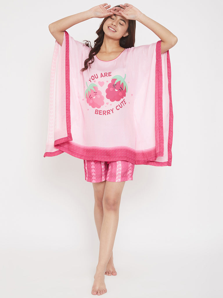 Berry Pink Satin Kaftan Shorts Set