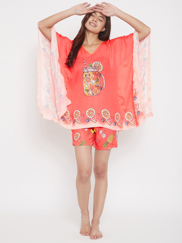 Pulpy Orange Satin Kaftan Pyjama Set
