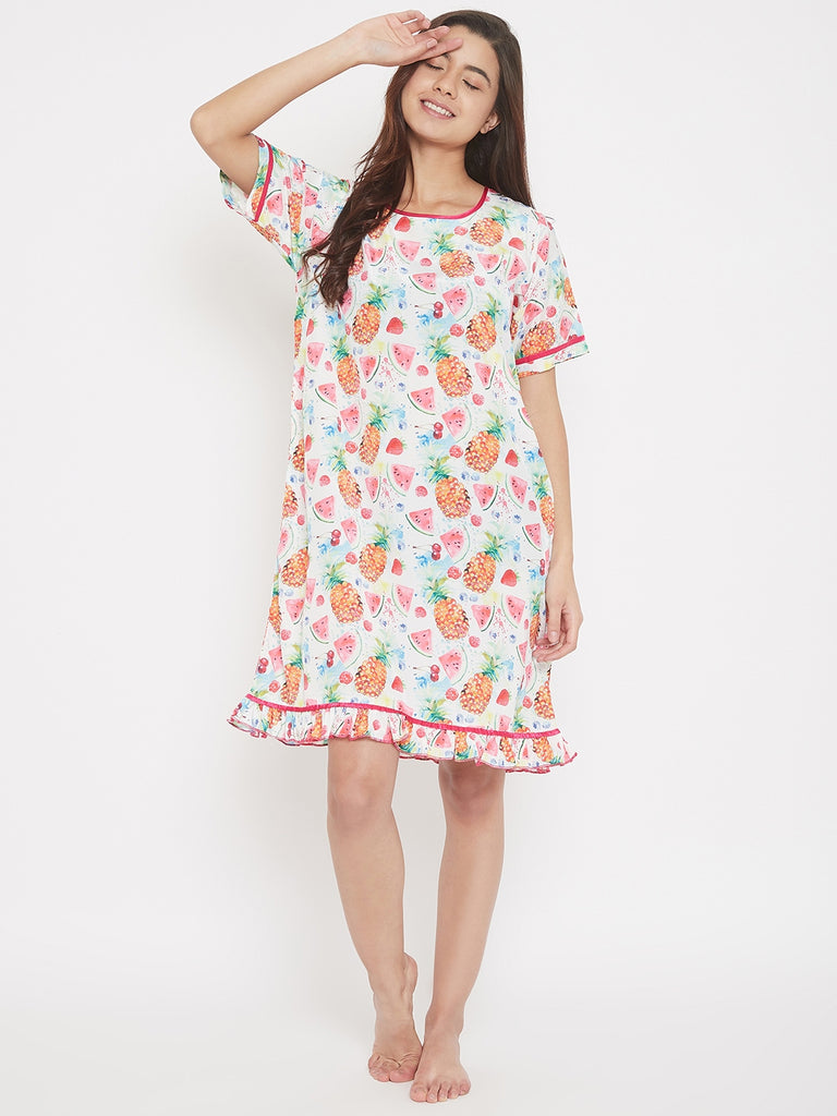 Fruit Cocktail White Satin Sleepdress