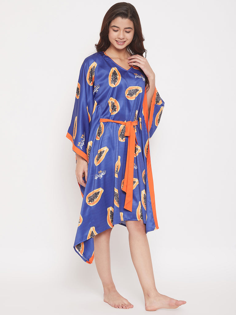 Papaya Fruit Printed Satin Knee Length Kaftan