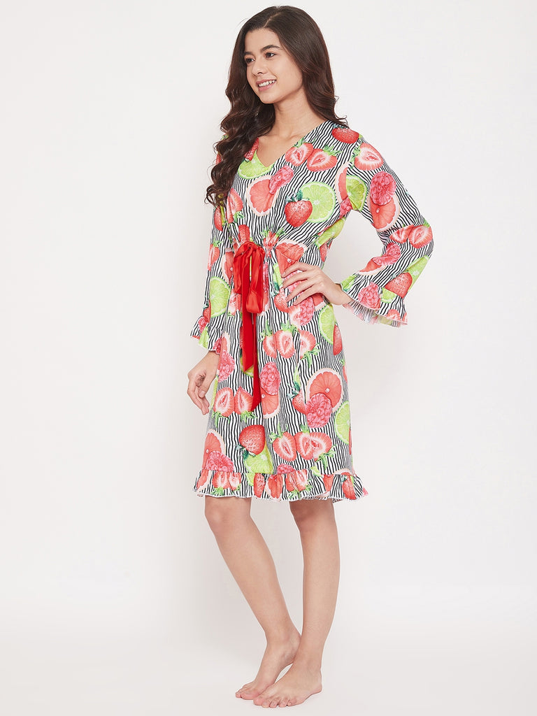 Strawberry Stripes Satin Sleepdress with Waist Ribbon