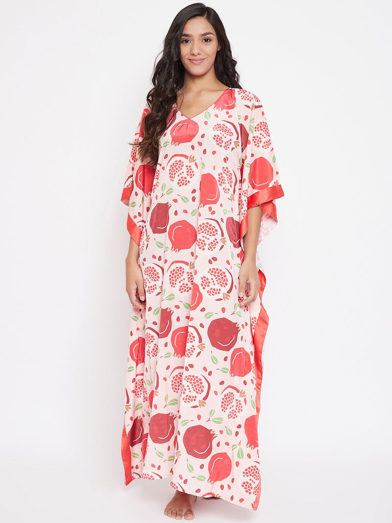 Designer Lounge-wear Kaftan from The Kaftan Company which is Mixed and Matched for you!  Pomegranate Fruit Printed maxi length Kaftan