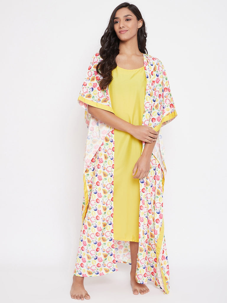 Designer Lounge-wear Kaftan from The Kaftan Company which is Mixed and Matched for you!  Mixed fruit Printed maxi length Kaftan suit set