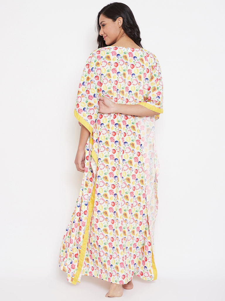 FRUIT PRINT GOWN SET WITH SLIP