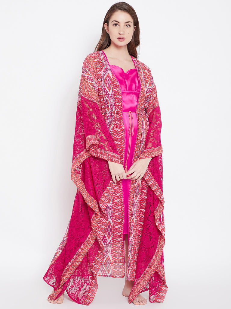 Pink Printed Gown Set