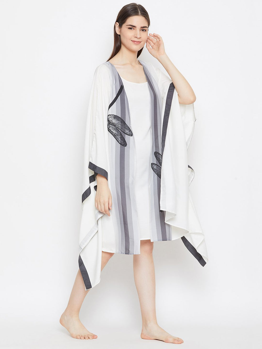 WHITE PRINTED KNEE LENGTH KAFTAN GOWNSET WITH SLIP