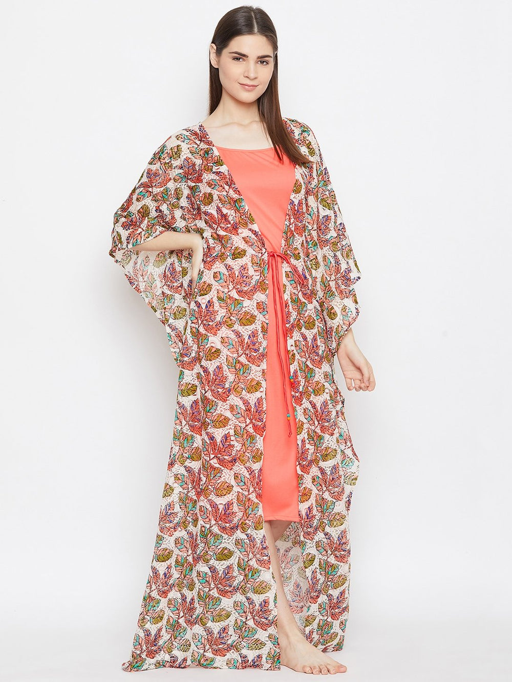 LACED UP KAFTAN GOWNSET WITH SLIP